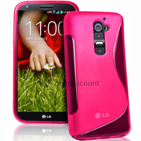 Housse etui coque pochette silicone gel pour LG G2 D802 + film ecran - ROSE