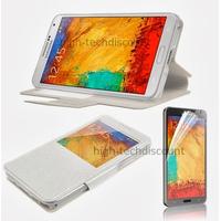 Housse etui coque pour Samsung Galaxy Note 3 n9000 n9005 + film ecran - BLANC VIEW
