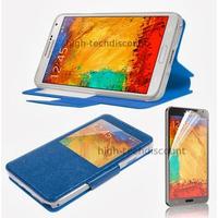 Housse etui coque pour Samsung Galaxy Note 3 n9000 n9005 + film ecran - BLEU FONCE VIEW