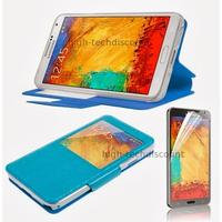 Housse etui coque pour Samsung Galaxy Note 3 n9000 n9005 + film ecran - BLEU CLAIR VIEW