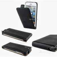 Housse etui coque cuir NOIR pour Apple iPhone 5 5S 5G + film ecran