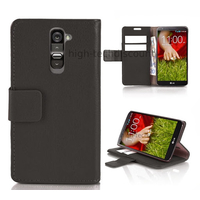 Housse etui coque portefeuille pour LG G2 + film ecran - NOIR
