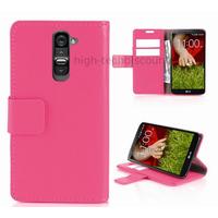 Housse etui coque portefeuille pour LG G2 + film ecran - ROSE