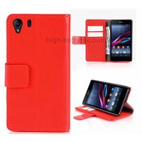 Housse etui coque portefeuille pour Sony Xperia Z1 + film ecran - ROUGE