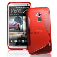 Housse etui coque pochette silicone gel pour HTC One Max + film ecran - ROUGE