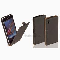 Housse etui coque pochette PU cuir fine pour Sony Xperia Z1 + film ecran - NOIR