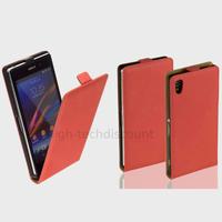 Housse etui coque pochette PU cuir fine pour Sony Xperia Z1 + film ecran - ROUGE