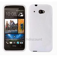 Housse etui coque pochette silicone gel pour HTC Desire 601 + film ecran - BLANC