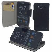 Housse etui coque portefeuille pour Alcatel One Touch Idol Mini 6012D + film ecran - NOIR