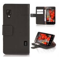 Housse etui coque pochette portefeuille pour LG Optimus L5 II 2 + film ecran - NOIR