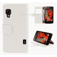 Housse etui coque pochette portefeuille pour LG Optimus L5 II 2 + film ecran - BLANC
