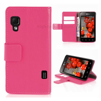 Housse etui coque pochette portefeuille pour LG Optimus L5 II 2 + film ecran - ROSE