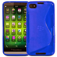 Housse etui coque pochette silicone gel pour Blackberry Z30 + film ecran - BLEU