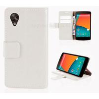 Housse etui coque pochette portefeuille pour Google Nexus 5 + film ecran - BLANC