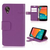 Housse etui coque pochette portefeuille pour Google Nexus 5 + film ecran - MAUVE