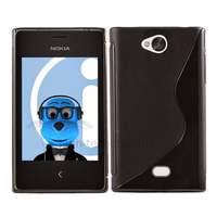Housse etui coque pochette silicone gel pour Nokia Asha 503 + film ecran - NOIR