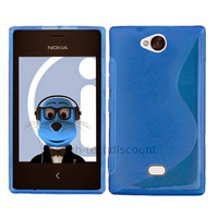 Housse etui coque pochette silicone gel pour Nokia Asha 503 + film ecran - BLEU