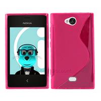 Housse etui coque pochette silicone gel pour Nokia Asha 503 + film ecran - ROSE