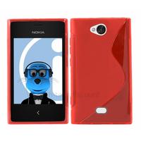 Housse etui coque pochette silicone gel pour Nokia Asha 503 + film ecran - ROUGE