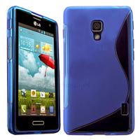 Housse etui coque pochette silicone gel pour LG Optimus F6 + film ecran - BLEU