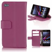 Housse etui coque pochette portefeuille PU cuir pour Sony Xperia Z1 Compact + film ecran - MAUVE