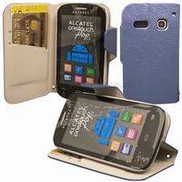 Housse etui coque portefeuille pour Alcatel One Touch Pop C3 4033D + film ecran - BLEU