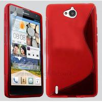 Housse etui coque pochette silicone gel fine pour Huawei Ascend G740 + film ecran - ROUGE