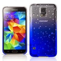 Housse etui coque pochette rigide goutte de pluie pour Samsung i9600 Galaxy S5 + film ecran - BLEU