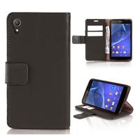 Housse etui coque pochette portefeuille PU cuir pour Sony Xperia Z2 + film ecran - NOIR
