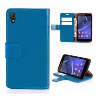 Housse etui coque pochette portefeuille PU cuir pour Sony Xperia Z3 + film ecran - BLEU
