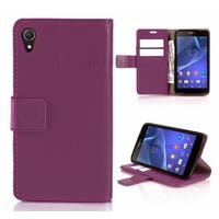 Housse etui coque pochette portefeuille PU cuir pour Sony Xperia Z3 + film ecran - MAUVE