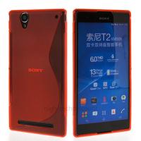 Housse etui coque silicone pochette gel fine pour Sony Xperia T2 Ultra + film ecran - ROUGE