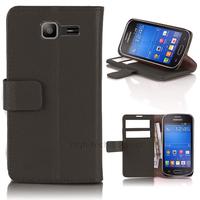 Housse etui coque portefeuille PU cuir pour Samsung s7390 Galaxy Trend Lite + film ecran - NOIR