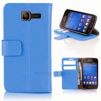 Housse etui coque portefeuille PU cuir pour Samsung s7390 Galaxy Trend Lite + film ecran - BLEU
