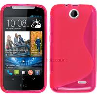 Housse etui coque pochette silicone gel fine pour HTC Desire 310 + film ecran - ROSE