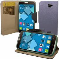 Housse etui coque pochette portefeuille pour Alcatel One Touch Pop C7 7041D + film ecran - BLEU