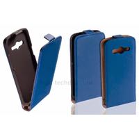 Housse etui coque pochette PU cuir fine pour Samsung g386 Galaxy Core 4G + film ecran - BLEU