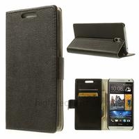 Housse etui coque pochette portefeuille PU cuir pour HTC Desire 610 + film ecran - NOIR