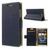 Housse etui coque pochette portefeuille PU cuir pour HTC Desire 610 + film ecran - BLEU