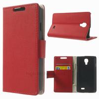 Housse etui coque pochette portefeuille PU cuir pour LG F70 + film ecran - ROUGE