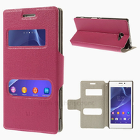 Housse etui coque pochette portefeuille PU cuir pour Sony Xperia M2 + film ecran - ROSE VIEW