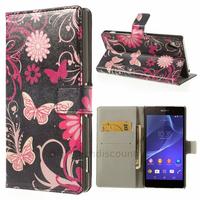 Housse etui coque pochette portefeuille PU cuir pour Sony Xperia Z2 + film ecran - FLEURS N