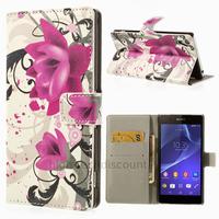 Housse etui coque pochette portefeuille PU cuir pour Sony Xperia Z2 + film ecran - LOTUS
