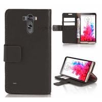 Housse etui coque pochette portefeuille PU cuir pour LG G3 + film ecran - NOIR