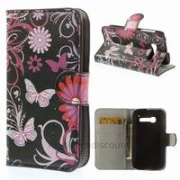 Housse etui coque portefeuille PU cuir pour Alcatel One Touch Pop C5 5036D + film ecran - FLEURS N