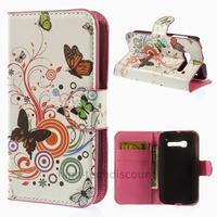 Housse etui coque portefeuille PU cuir pour Alcatel Pop One Touch C5 5036D + film ecran - PAPILLONS