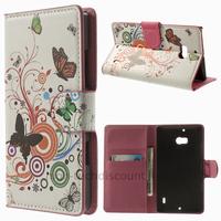 Housse etui coque pochette portefeuille PU cuir pour Nokia Lumia 930 + film ecran - PAPILLONS