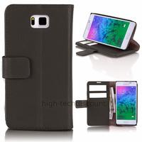 Housse etui coque pochette portefeuille PU cuir pour Samsung Galaxy Alpha G850F + film ecran - NOIR