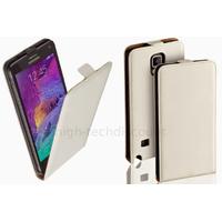 Housse etui coque pochette PU cuir fine pour Samsung G910F Galaxy Note 4 + film ecran - BLANC