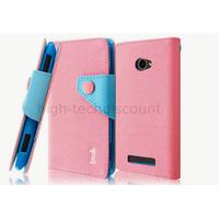 Housse etui coque portefeuille pour Windows Phone 8S by HTC + film ecran - ROSE CLAIR